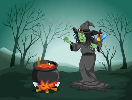 Illustration of a scary witch at the forest with a pot and a bird Vector