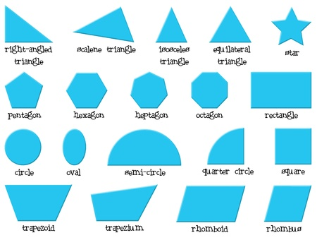 trapezoid: Illustration of the different shapes on a white background  Illustration