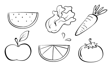 Illustration of the doodle sets of fruits on a white background