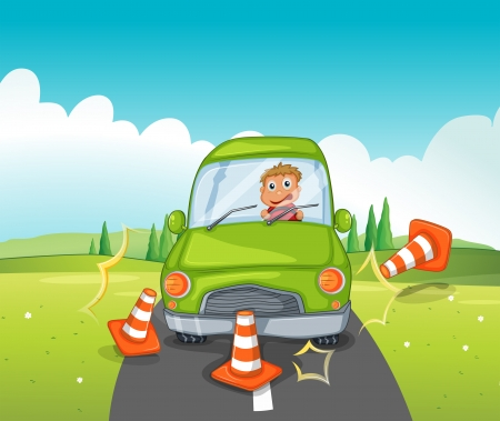 reckless: Illustration of a boy riding on a green car bumping the traffic cones