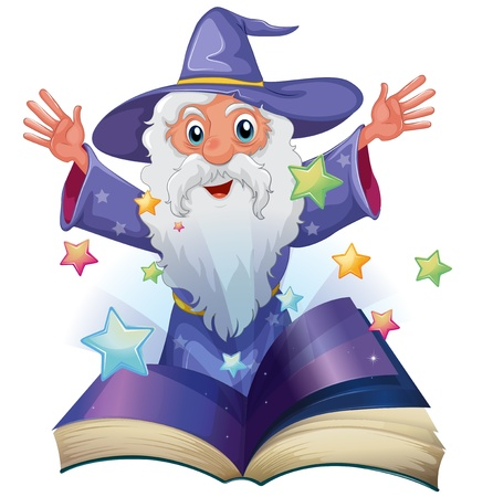storyteller: Illustration of a book with an image of an old man with many stars on a white background