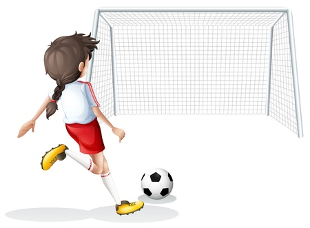 footwork: Illustration of a female football player with a white shirt on a white background Illustration