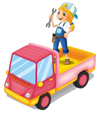 Illustration of a girl standing above the pink truck on a white background  Stock Vector - 20142955