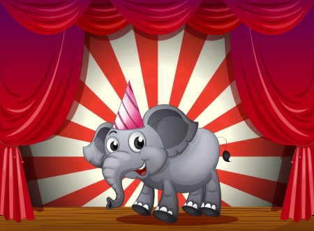 stageplay: Illustration of an elephant wearing a party hat at the stage