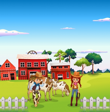 barn girls: Illustration of a cowboy and a cowgirl at the farm Illustration