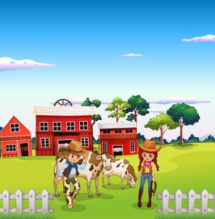 rancho: Ilustraci�n de un vaquero y una vaquera en la granja Vectores