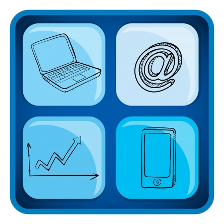 manmade: Illustration of a cube with gadgets on a white background  Illustration