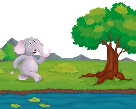 lake  pond  trees: Illustration of an elephant at the riverbank