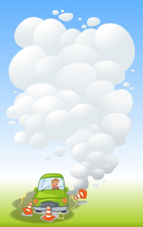 Illustration of a green car in an accident with smoke Vector