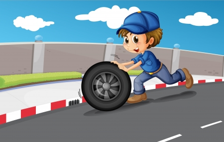 Illustration of a boy pushing a wheel along the road  Vector