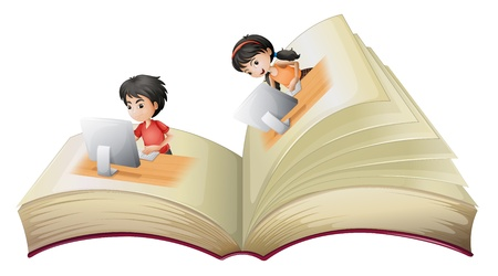 Illustration of an open book with a girl and a boy with computers on a white background