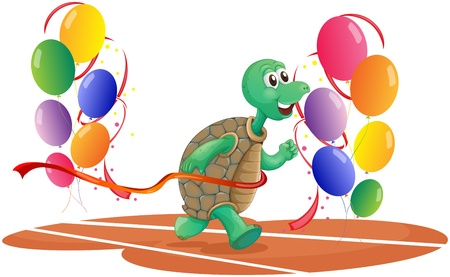 Illustration of a turtle running with colorful balloons on a white background
