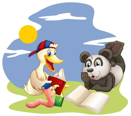 Illustration of a panda, a duck and a worm reading  on a white background  Vector