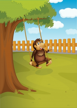 back ground: Illustration of a monkey swinging on a tree