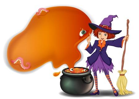 pocion: Ilustración de una bruja con una escoba con una olla sobre un fondo blanco