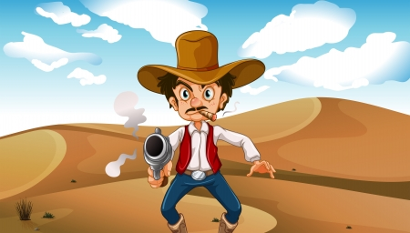 Illustration of a cowboy smoking with a gun at the desert Vector