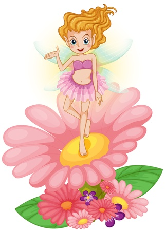 flower power: Illustration of a fairy standing above the flower on a white background  Illustration