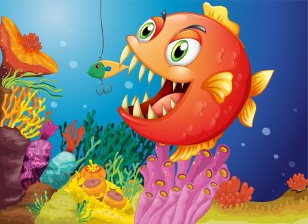 Illustration of a piranha under the sea