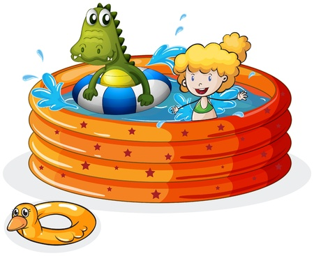 Illustration of a girl and a crocodile swimming inside the inflatable pool  on a white background Vector