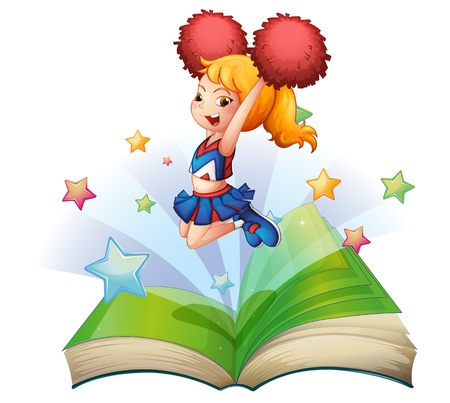 Illustration of an open book with an image of a dancing cheerleader on a white background Stock Vector - 20142857