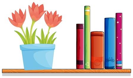 �tag�re bois: Illustration d'un plateau en bois avec un pot de fleurs et de livres sur un fond blanc
