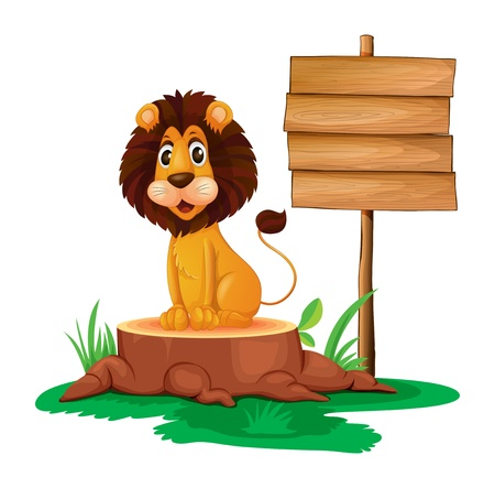 illegal logging: Illustration of a lion sitting on a stump beside an empty wooden signboard  on a white background