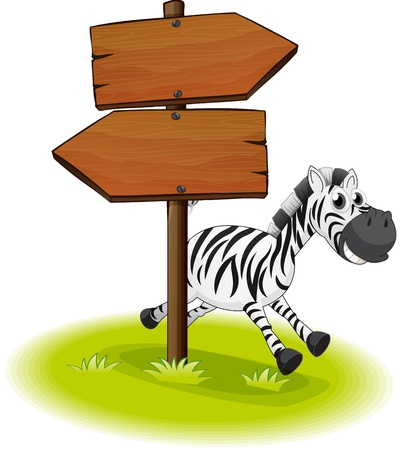 Illustration of a zebra at the back of a wooden arrow board on a white background Stock Vector - 20142947
