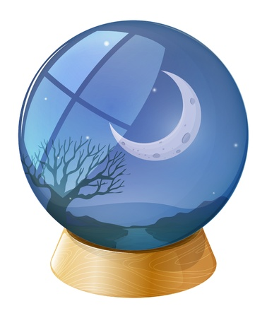 Illustration of a crystal ball with a moon on a white background Vector