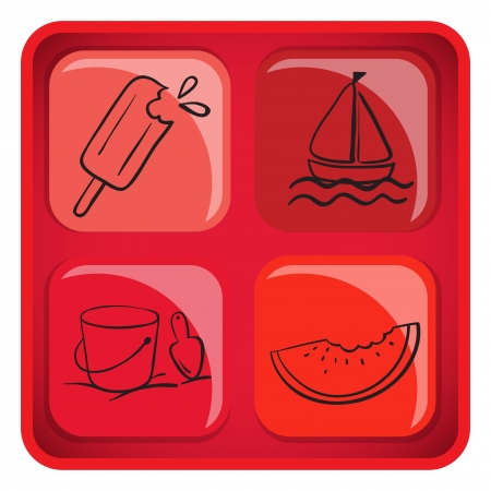 refreshed: Illustration of a cube with foods and things for summer on a white background  Illustration