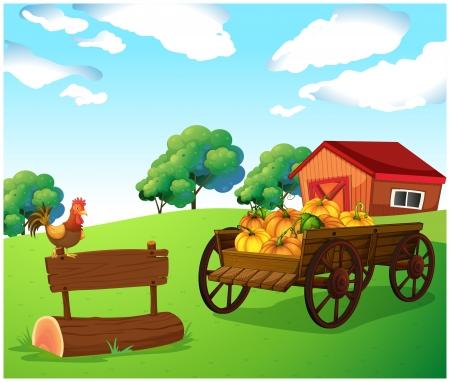 carreta madera: Ilustración de un pollo encima de un letrero de madera cerca del carro con la calabaza
