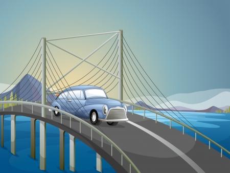 steel bridge: Illustration of a car on the road