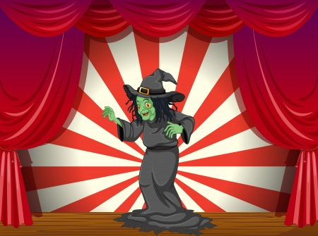 stageplay: Illustration of a witch standing at the stage  Illustration