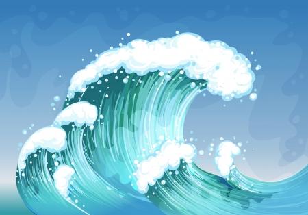 非常に大きな波のイラスト  イラスト・ベクター素材
