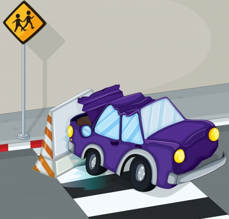 bump: Illustration of a violet car having an accident at the road