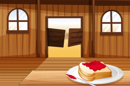 melaware: Illustration of a table with a sandwich in a plate inside the saloon bar