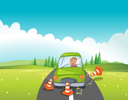 road accident: Illustration of a boy in a green car bumping the traffic cones