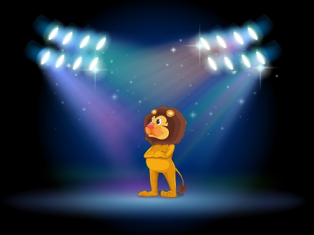 Illustration of a lion standing in the middle of the stage