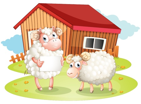 Illustration of a sheep holding an empty signage at the back of the barn on a white background Stock Vector - 20142081