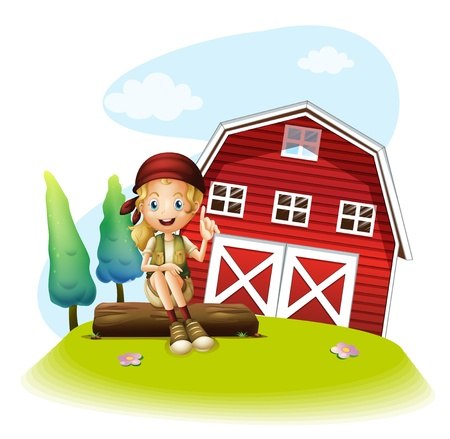 Illustration of a girl sitting in front of a red barnhouse on a white background Stock Vector - 20142068