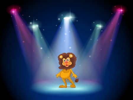 stageplay: Illustration of a stage with a brave lion in the middle Illustration