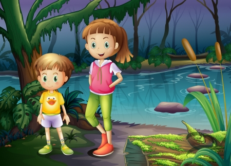 lake of the woods: Illustration of a boy and a girl standing in the middle of the forest