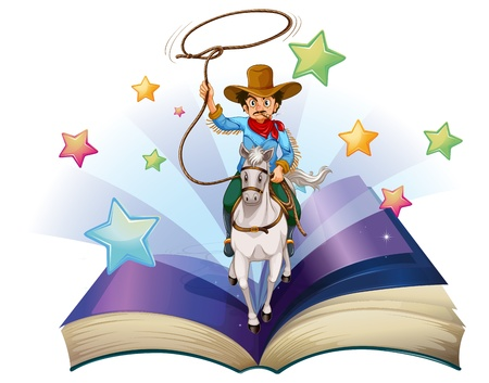 Illustration of an open book with an image of a cowboy riding on a horse on a white background  Vector