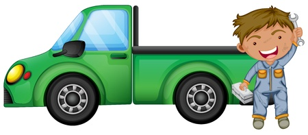 Illustration of a man holding tools in front of a green cargo truck on a white background  Stock Vector - 20142060