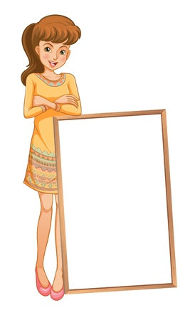 Illustration of a lady standing at the back of an empty board on a white background Stock Vector - 20142055