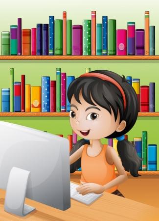 lectura: Ilustración de una chica joven con un ordenador en la biblioteca