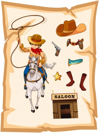 horse shoe: Illustration of a paper with a drawing of a cowboy and a saloon bar on a white background