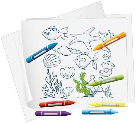 Illustration of a paper with a drawing of sea creatures and crayons on a white background  Vector