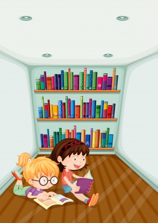 shelf with books: Illustration of the two girls reading inside the room on a white background