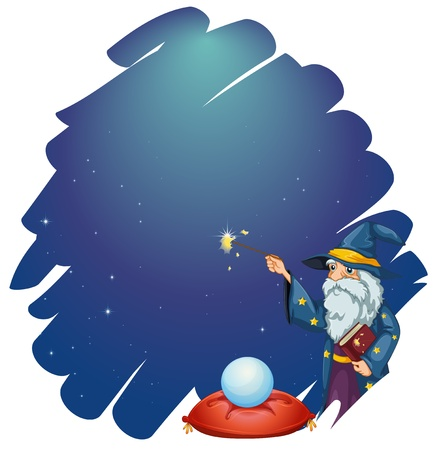 thick: Illustration of a wizard holding a magic wand and a book in front of the crystal ball on a white background  Illustration