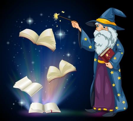 Illustratie van een oude tovenaar die een boek en een toverstaf